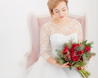 Long Lace Wedding dress A-silhouette / Delicate Wedding Gown with 3/4 sleeves