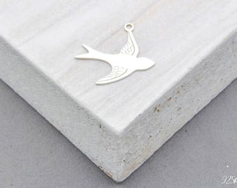 925 Sterling Silver swallow, swallow pendant, swallow charms, swallow, swallow silver, bird silver, bird pendant,