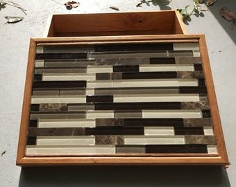 Handmade wooden cherry box with glass tiles for storage/jewelry