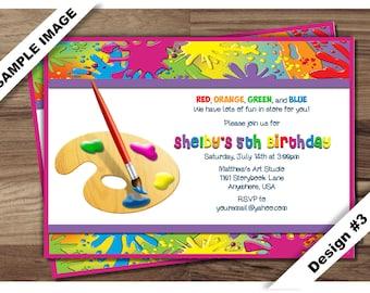 Art Party Invitation, Art Invitation, Painting Birthday Party Invitation, Paint Palette, Rainbow Party Artist Paint Colors - 3 Designs