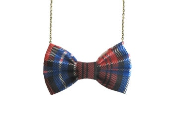 Blue Red Plaid- Bow Tie Necklace Bowtie for Women and Girls, Pre Tied Custom Chain Necklace Bowtie, Double Folded BowTie