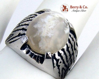 SaLe! sALe! Moss Agate Sterling Silver Ring