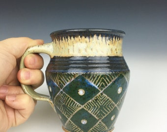 Pottery mug, geometric, green mug, coffee mug, ceramic mug, ceramic cup, green cup