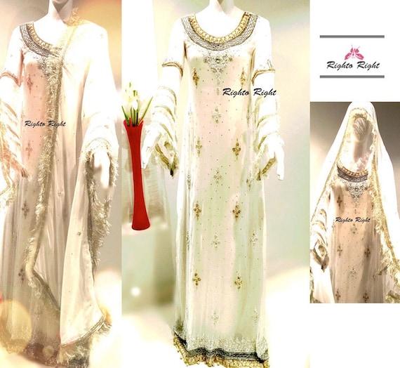 Any Elegant Ready White Pure Dress Color Chiffon Long Bridal Bridal Custom Wedding To Stylish Sleeves Pakistani Wear Size Maxi Any 0TqxEw5X
