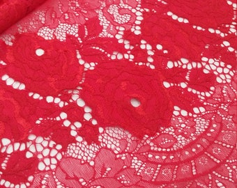 Red lace fabric, Chantilly lace, French lace, Bridal lace Wedding lace Evening dress lace Scalloped Eyelash lace Lingerie lace L56596