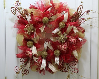 Red and Gold Deco Mesh Wreath   Christmas Deco Mesh Wreath  Holiday Wreath  Christmas Wreath
