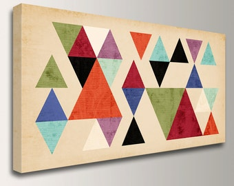 """Large Wall Art Mid Century Modern Art on Canvas Print of Geometric Art Triangles Modern Wall Art for the Home or Office """"Tangent"""""""