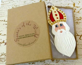 Czechoslovakia Svaty Mikalas Santa Claus Ornament Handcrafted Painted Christmas Tree Decoration or Collectable