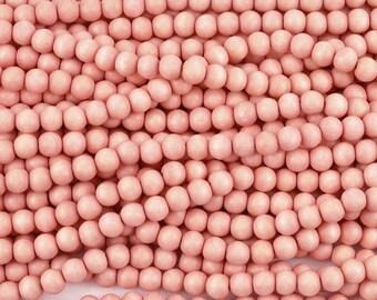 8mm Wood round beads 50pcs - Pretty pink