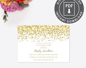EDITABLE BAPTISM INVITATION, Instant Download Christening Invitation, Printable Template Invitation, Gold Glitter Invite, Editable 009G