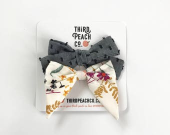 2 Bow Set- Black Swiss Dot and Fall Floral