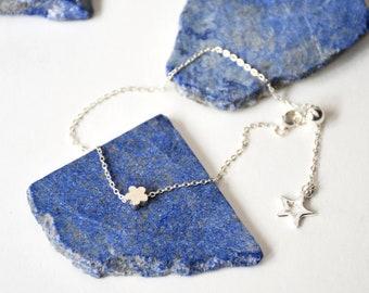 Handmade Sterling Silver flower Chain Bracelet // Sterling Silver Bracelet