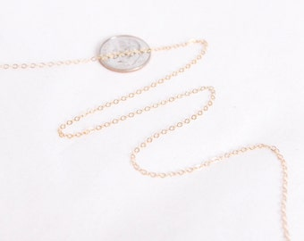 14k Gold Filled Chain by the Foot - 1.3mm Flat Cable Chain - Thin Chain - Gold Chain - Wholesale Chain - Custom Length / GF-CH008