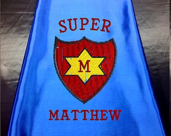 Super Hero Cape, Kid's Cape,Super Shield  Star Costume Cape, Embroidered Personalized with Monogram