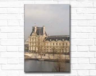 Paris Photography on Canvas - Le Louvre in Winter, Gallery Wrapped Canvas, Large Wall Art, Urban Home Decor, Fine Art Travel Photography