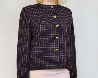 Jaeger Vintage 1980s Plaid Tattersall Gold Button Up Sophisticated School Wool Blazer Jacket