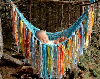 Knit Hanging Newborn Hammock FRiNGe BLaNKeT BaBY PHoTO ProP Fabric Strip Yarn Rag Fringe SHaBBY CHiC aqua yellow orange grey blue PoUCH LooK