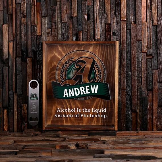 Beer cap holder shadow box with free bottle opener wine cork for Craft beer typography beer cap shadow box beer cap collector