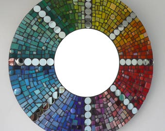 Big Round Mosaic Mirror Rainbow  - Here comes the Sun