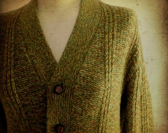 FINAL SALE --- Vintage Mens 1960s Lime Wool Knit Cardigan Sweater (S)