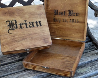 Groomsmen Gift  - Rustic Cigar Box - Rustic Wedding - Engraved Wood Cigar Box - Personalized Gifts for Groomsman - Wedding Party Gift