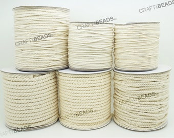 1MM 1.5MM 2MM 3MM 4MM 5MM - Natural White Cotton Twisted Cord Rope Craft Jewelry Beading Macrame Artisan String