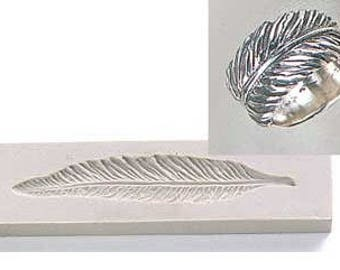 Silver Clay Jewelry Silicone Ring Mold, Feather, PMC