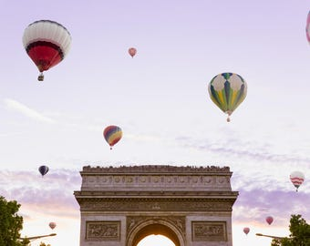Paris Balloon Print - Arc de Triomphe Photo Print - Whimsical Photography Print - Hot Air Balloon Print - Purple Wall Art
