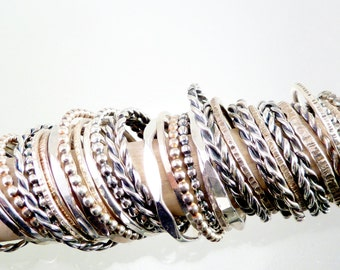 Stacking Rings, Set of (3), Solid Sterling Silver, Hand crafted, Choose Your Own Stack, Different Shapes and Patterns