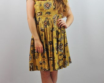 Vintage 1960's Rich Print Summer Tea Dress