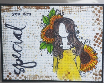 Mixed Media Card, Modern, Card with Envelope, Unique, Handmade, All Occasion Card, Birthday, Congratulations, Encouragement, Just Because