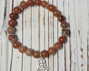 Purple Aventurine Stone Bracelet, Meditation, Stackable, Stretch Bracelet
