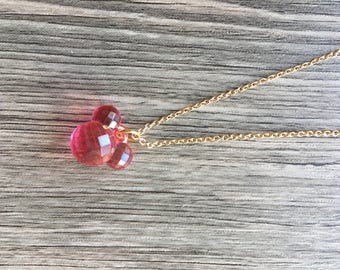 Delicate and Danity Pink Mouse Charm Necklace