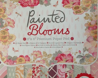 """Dovecraft Painted Blooms Paper Pad 6"""" x 6"""" 48 sheets 150gsm Cardstock"""