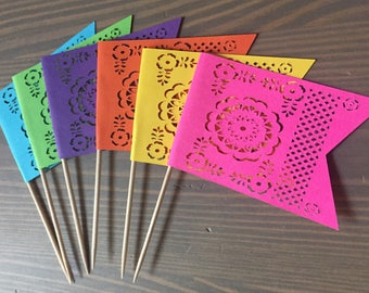 Papel Picado Cupcake and Treat Toppers  Fiesta Decorations