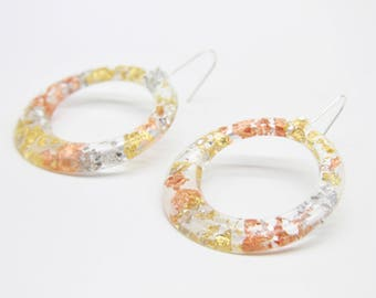Gaia Eco Resin Clear Hoop Earrings with Gold, Silver and Copper Leaf