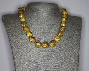 Tyre beads | Beaded Necklace |Rusty look.