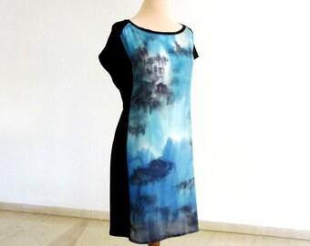 Silk dress, hand painted dress, art dress, wearable art dress,  sleeveless dress