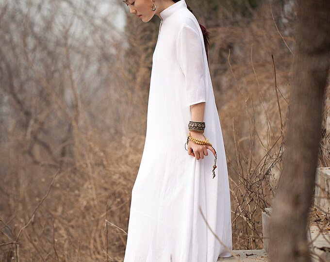 Women dress - Dress 3/4 sleeves - Autumn long dress - Cotton dress - Chinese style - Made to order