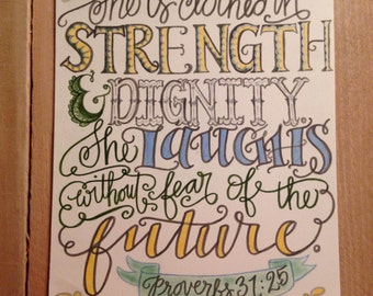 Bible verse print - hand drawn, Proverbs 31:25