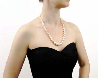 Hand Knotted Long Pearl Necklace, Long Graduated Pearl Necklace, Bridal Necklace, Wedding Necklace
