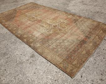 4'6x8'5, Oushak rug, Turkish Rug, Small rug, beige Rug, Turkish Oushak rug, floor rug, vintage oushak rug, blue oushak rug, rug oushak 6226