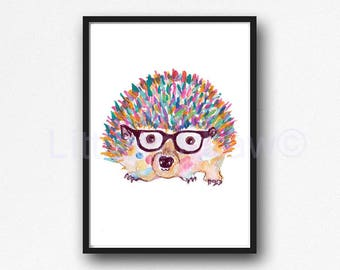 Hedgehog Watercolor Print Woodland Animal Wall Art Rainbow Hedgehog