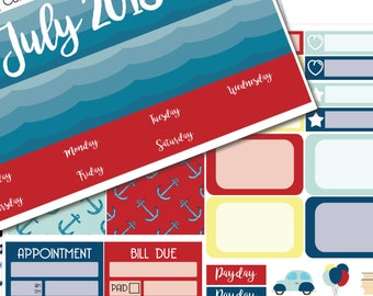 Planner Stickers July Colors Monthly Spread Kit - Erin Condren Life Planners - O2