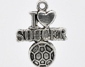 I love soccer charms etsy i love soccer charms silver sports charms braceletnecklace charms pendants athletic mozeypictures Image collections