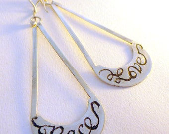 Peace and Love- Calligraphy on Sterling Silver Earrings