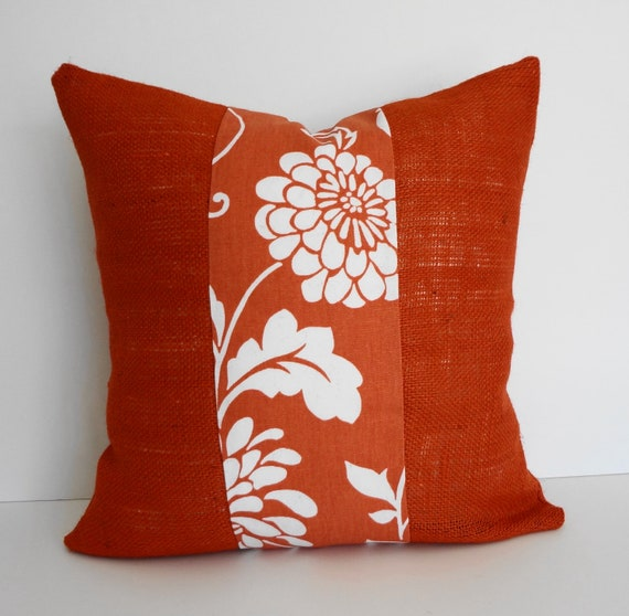Decorative Pillow 18 X 18 Insert : Coral Burlap Decorative Pillow Cover 18 x 18 Orange and