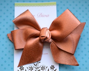 Shimmery Copper Classic Diva Bow