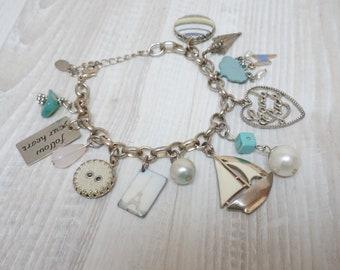 Travel Paris Charm Bracelet Jewelry Vintage Retro Gift silver tone chain bangle ship sailing enamel button Voyage cloud lighting umbrella