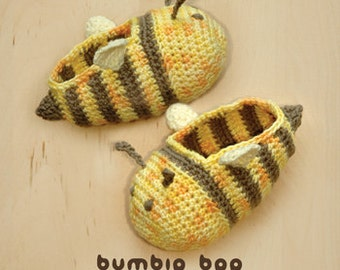 Crochet Baby Preemie Pattern - Bumble Bee Booties Slippers Socks Shoes (BB01-Y-PAT)